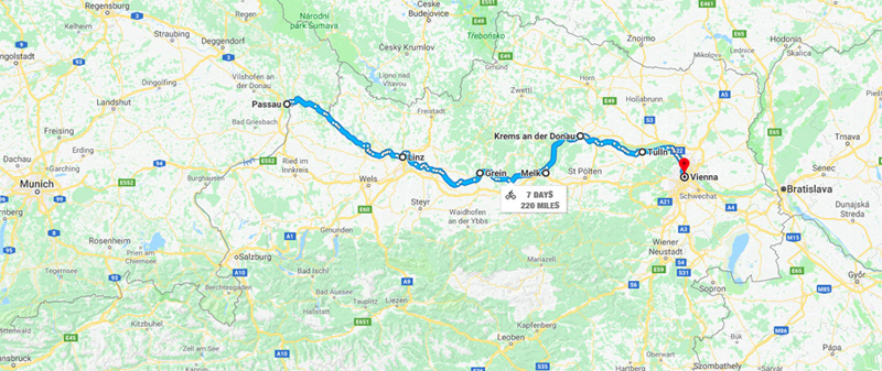 220 Miles Cycling SOLO on the Danube Bike Path - Traveling ... on huang he map, germany map, thames map, black sea map, alps map, ebro map, euphrates map, vistula map, douro map, prague map, romania map, ganges map, rhone map, seine map, rhine map, volga map, elbe map, dnieper map, yangtze map, iberian peninsula map,